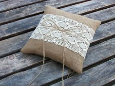 Rustic Wedding Ring Bearer Pillow in Natural Burlap with Cream Cotton Lace.    I don't like this particular lace, but the idea is cute.