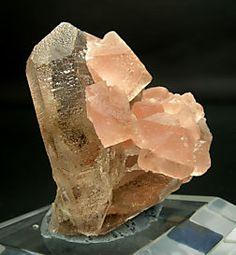 Octahedral Fluorite on smoky Quartz