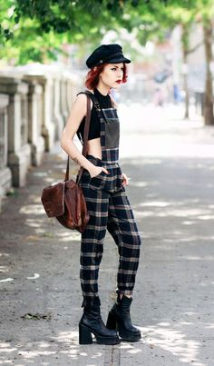A plaid jumpsuit ensemble.