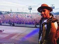The Mercedes driver posted this photo of where he watched Pharrell from on the main stage ...