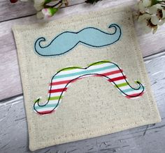 Funky Moustache Fabric Coaster - Appliqué Moustache Drinks Coaster - Gift for a Friend - Mug Mat - Mug Coaster - Cup Coaster by TheCornishCoasterCo on Etsy