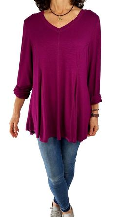 1b44b236a4 SOFT SURROUNDINGS 1X magenta vneck soft knit tunic top godet high-low swing  hem  SoftSurroundings  Tunic  Versatile