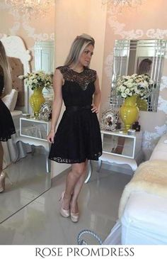 Black Lace Cute Scoop Cap Sleeve Open Back A-Line Homecoming Dresses UK This dress could be custom made, there are no extra cost to do custom size and color. Elegant Homecoming Dresses, Black Prom Dresses, Dresses Uk, Short Dresses, Wedding Dresses, Short Lace Dress, Lace Dress Black, Black Lace Shorts, Special Occasion Dresses