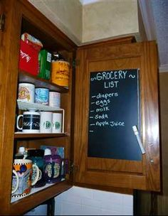 chalkboard contact paper ideas totally doing this this weekend!!!!! I have nowhere in my kitchen to hang anything so that's perfect inside cabinet