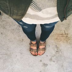 stripes + birks, my go-to mom outfit.