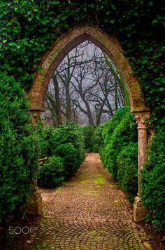 Stone arch & paved path