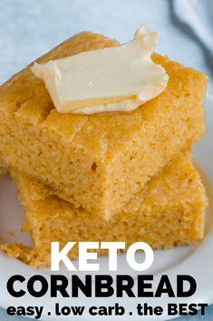 Keto Cornbread Recipe - Keto Bread in less than 10 minutes! Keto Cornbread Recipe - Thick, fluffy low carb cornbread in less than 10 minutes. You can always have bread with your dinner. My family love Keto Cornbread Recipe, Easy Keto Bread Recipe, Bread Recipes, Healthy Cornbread, Easy Bread, Meatloaf Recipes, Low Carb Desserts, Low Carb Recipes, Protein Recipes