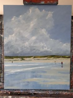 Landscape Paintings and photographs : This painting is so Seascape Paintings, Landscape Paintings, Beach Paintings, Beach Art, Beach Canvas, Water Art, Ocean Art, Pictures To Paint, Abstract Landscape