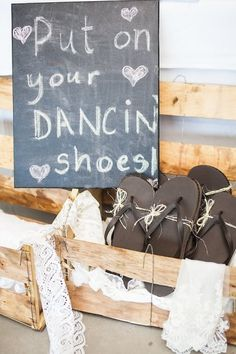 {provide cheap flip flops for the guests to dance in!}