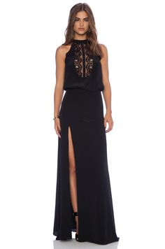 Mason by Michelle Mason Lace Halter Gown in Black | REVOLVE