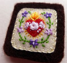 Embroidered Brown Scapular: Small Sacred Heart of Jesus and Immaculate Heart of Mary With Violets