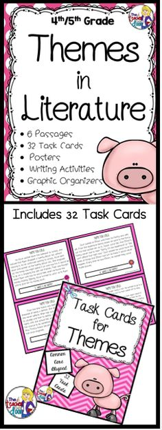 Updated! This 71 page set will give students plenty of practice identifying themes. Includes 6 literature passages (front and back with many paired passages) including Aesop's Fables, Folktales from Around the World, Legends and Myths, a set of 32 task cards, handouts, graphic organizers, a picture book list and 20 common theme posters. (TpT Resource)