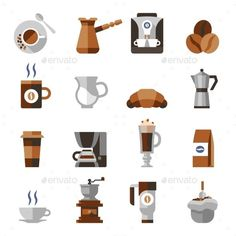 Coffee Icons Flat Set... I don't know what one might use these for, but I'm saving them here just in case we need them lol