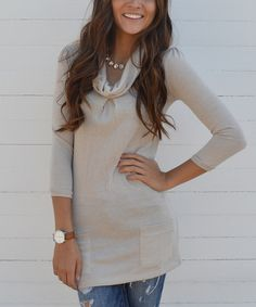 Look at this Oatmeal Pocket Cowl Neck Tunic - Women on #zulily today!
