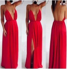$169.99 Deep V-neck Long Chiffon Red Prom Dress,Evening Party Dress with Slit