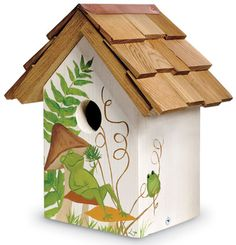 4908: Handpainted Frog Birdhouse (Product Detail)