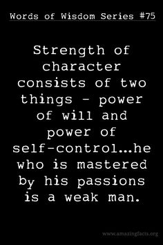 Strength in will-power and self-control