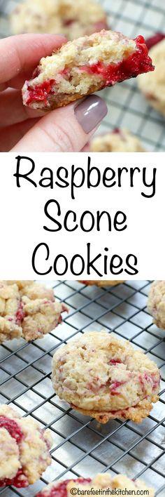 Raspberry Scone Cookies - get the recipe at barefeetinthekitchen.com
