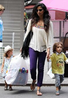 "Camila Alvez takes her kids Vida and Levi to Toys ""R"" Us in New York City. 6-28-2012"