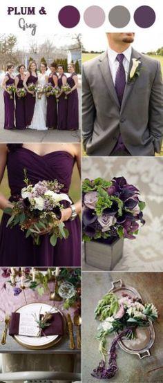 Plum purple and grey elegant wedding color ideas 39