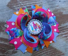 Trolls Inspired 5 Inch Stacked Boutique Bow | bethsaddabow - on ArtFire