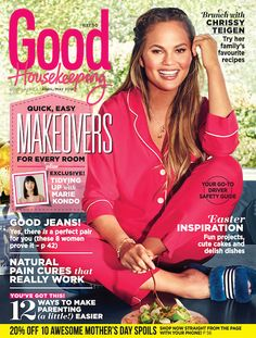 The April/May issue of GH is on sale! The new issue of Good Housekeeping magazine, with the inspiring Chrissy Teigen on the cover, is on sale now! April May, Beautiful Cover, Tidy Up, Good Housekeeping, Cute Cakes, Fun Projects, Feel Better, Health And Wellness, The Cure