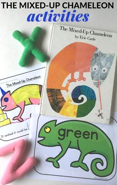 The Mixed-Up Chameleon Activities: Includes free printables for a color sort, writing activity, and alphabet activity. Great ideas to use with Eric Carle's book, The Mixed-Up Chameleon. Alphabet Activities, Color Activities, Hands On Activities, Kindergarten Activities, Writing Activities, Sequencing Activities, Preschool Books, Free Preschool, Preschool Printables