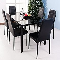 Merax 7-piece Dining Set Glass Top Metal Table 6 Person Table and Chairs (55 Inch, Black)