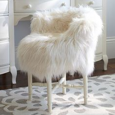 Fur-rific Minnie Stool Slipcover | PBteen  chair to go with the vanity
