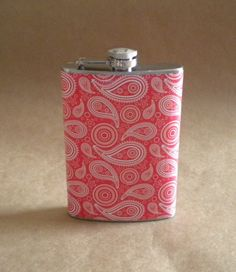 Cowgirl Black and White Paisley Print 6 ounce Stainless Steel Gift Flask Wedding Party Light Pink On SALE Rustic Western