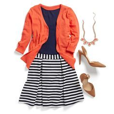 A red cardigan can instantly brighten up any work look. Wear it with navy and stripes for a nautical spring vibe.