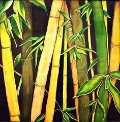 Bamboo Leaves by Ivy Sharma New Nature Wallpaper, Mural Painting, Art Paintings, Flower Paintings, Cherry Blossom Painting, Bamboo Art, Bamboo Leaves, Guache, A Level Art