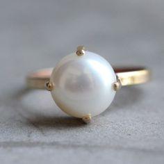 18k Gold ring -Prong set - Pearl ring - Wedding ring - Engagement ring $495.00