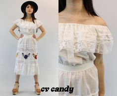 70s White Mexican Embroidered Dress Small / by CrushVintageCandy, $72.00