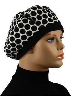 ba0ba13dd70b83 Damen Baskenmütze Tupfen Klea Damenbaske Punkte schwarz/weiß von klennes  Elegente Damenbaske in weiß mit