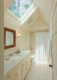 banheiros decorados com claraboia de vidro Projetos de banheiros e salas de banho com claraboias