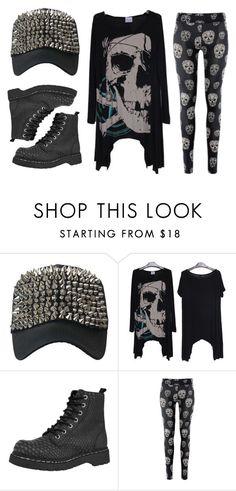 """""""Skull Fashion"""" by rebelsmarket-0 on Polyvore featuring T.U.K., black, rebel, skull, allblack and rebelsmarket"""