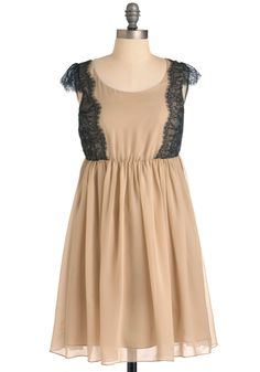 Soft Melody Dress - Mid-length, Solid, Lace, Trim, A-line, Cap Sleeves, Tan, Black, Wedding, Party