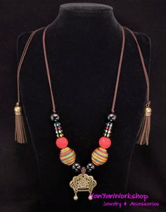 Rainbow Colors Thread Beads Necklace, Carved Lacquer Balls, Onyx Beads, Vintage Bronze Chinese Wealth Lock, Felt Tassels