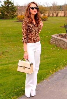 I must admit I never thought to wear my cheetah print blouse with white pants. Penny Pincher Fashion: Wild at Heart Fashion Mode, New Fashion Trends, Work Fashion, Fashion Outfits, Street Fashion, Latest Fashion, Fashion Ideas, Fashion Inspiration, Animal Print Outfits