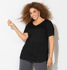 Ruched V-Neck Tee - AVENUE