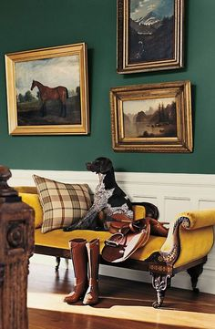 ralphlauren: Gilded frames add a regal touch to a front entry painted in Windsor Green, with Polo Mallet White trim. Find your perfect shade from Ralph Lauren Paint: here.