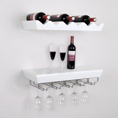 Amazon.com - Welland White Wine Rack Floating Wall Shelf with Glass Holder -