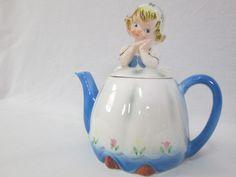 Lefton Dutch Girl Teapot Kitschy Kitchen Decor Tea Pot Figural RARE Blue White | eBay