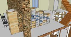 Réalisation d'un meuble avec SketchUp pour aménager l'étage d'une maison (projet n°2) Stage, Mirror, Architecture, Furniture, Home Decor, Atelier, Home, Arquitetura, Decoration Home