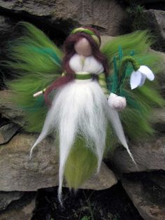 Snowdrop,  Needle Felted Wool fairy, Nature fairy, Waldorf inspired fairy doll. €14.00, via Etsy.