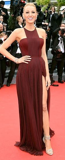 Blake Lively wears a burgundy Gucci gown and Lorraine Schwartz jewelry to the Cannes Film Festival opening ceremony