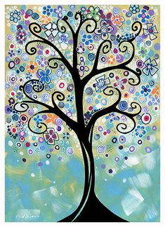 Whimsical Winter Garden Tree Landscape by NYoriginalpaintings, $14.99
