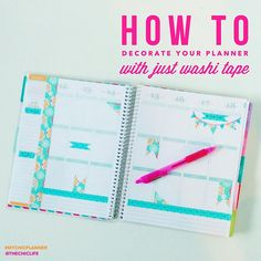 How to Decorate Your Planner with Washi Tape. Some of these are a little too type-A and/or something else for me, but I can definitely use some of these ideas for using washi tape in my planner!