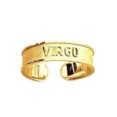 14k Yellow Gold Adjustable Virgo Zodiac Sign Toe Ring